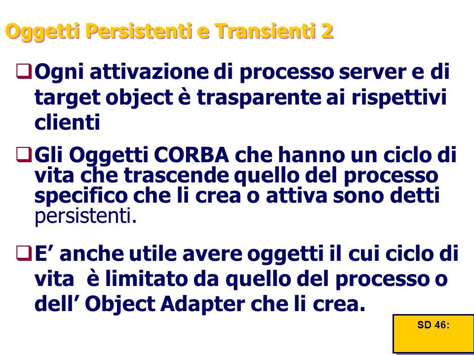 Oggetti Persistenti e Transienti 2  Ogni attivazione di processo server e di target object è trasparente ai rispettivi clienti  Gli Oggetti CORBA ch