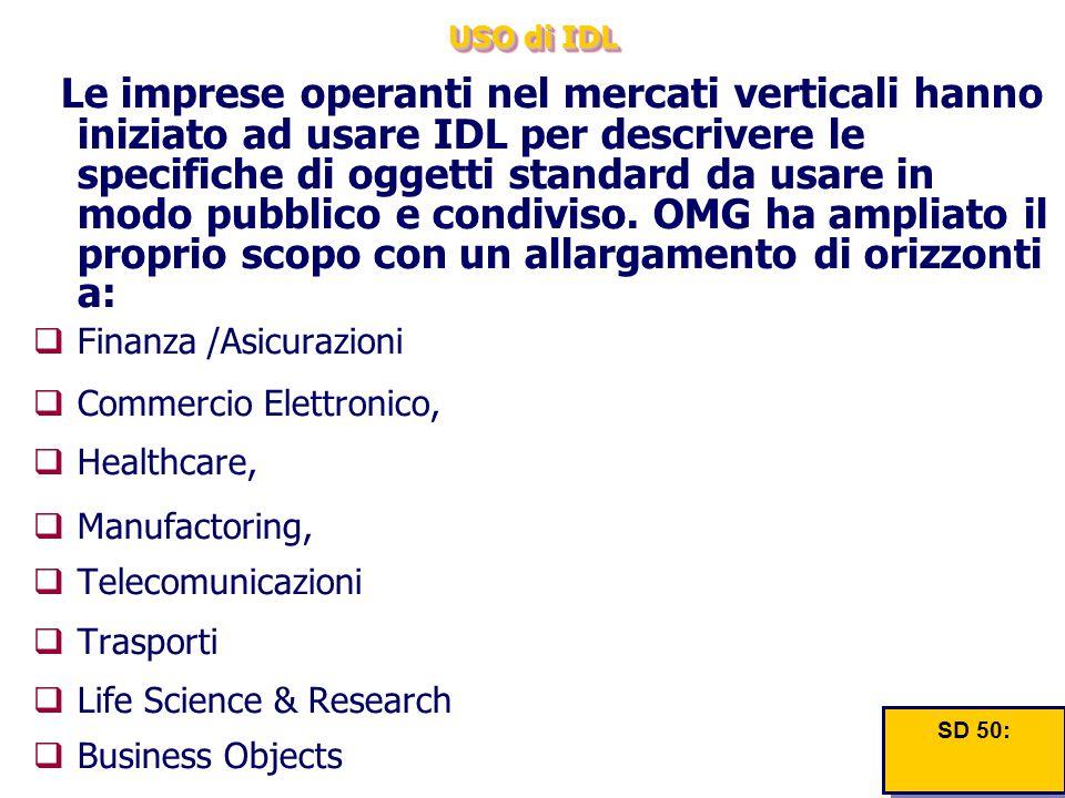 USO di IDL Le imprese operanti nel mercati verticali hanno iniziato ad usare IDL per descrivere le specifiche di oggetti standard da usare in modo pub