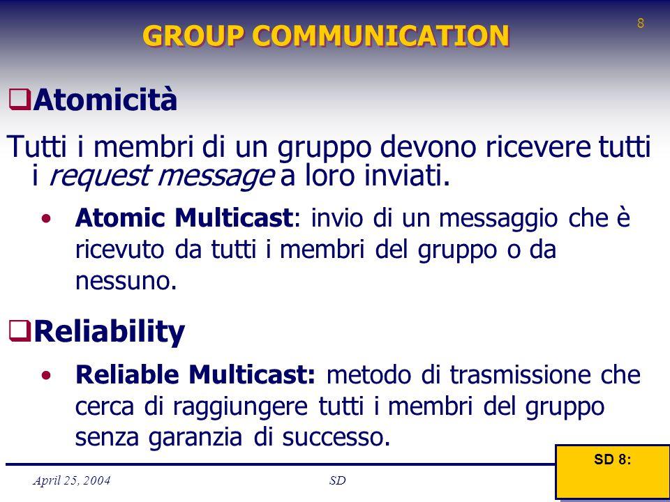April 25, 2004 8 SD GROUP COMMUNICATION  Atomicità Tutti i membri di un gruppo devono ricevere tutti i request message a loro inviati. Atomic Multica