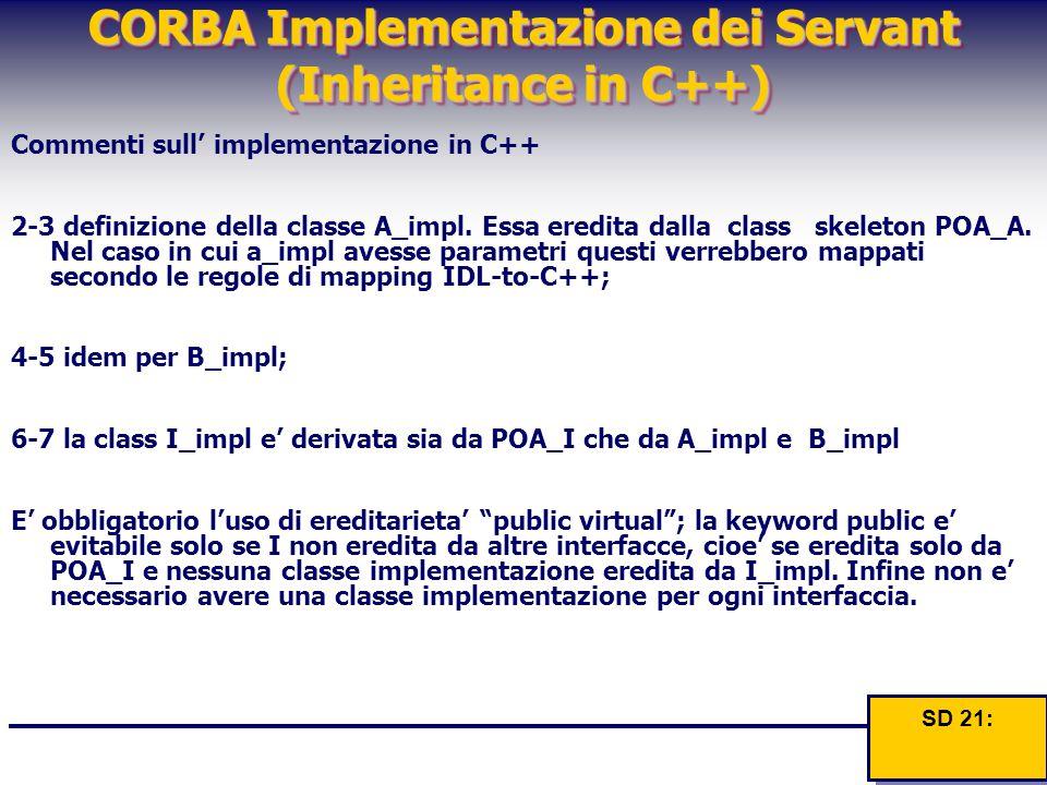 CORBA Implementazione dei Servant (Inheritance in C++) Commenti sull' implementazione in C++ 2-3 definizione della classe A_impl. Essa eredita dalla c