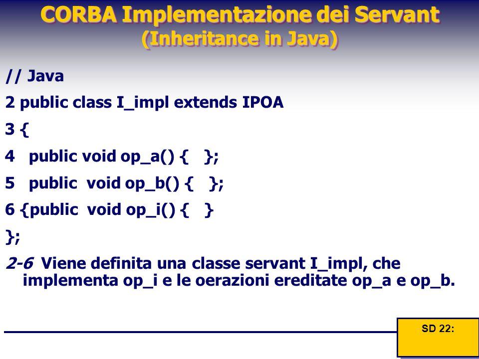 CORBA Implementazione dei Servant (Inheritance in Java) // Java 2 public class I_impl extends IPOA 3 { 4 public void op_a() { }; 5 public void op_b()