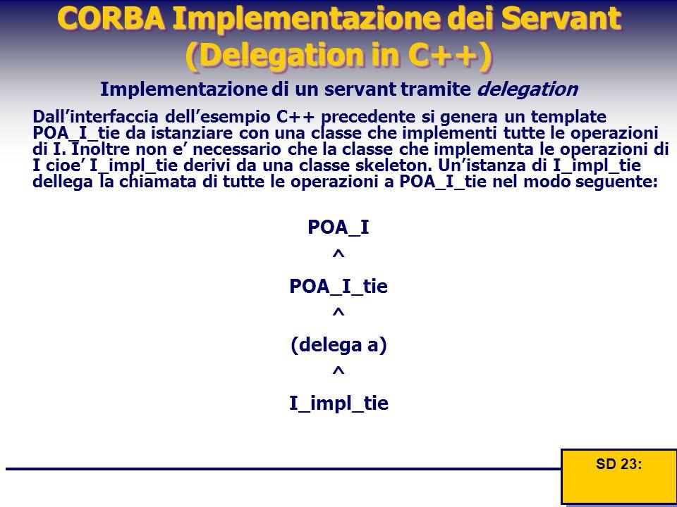 CORBA Implementazione dei Servant (Delegation in C++) Implementazione di un servant tramite delegation Dall'interfaccia dell'esempio C++ precedente si