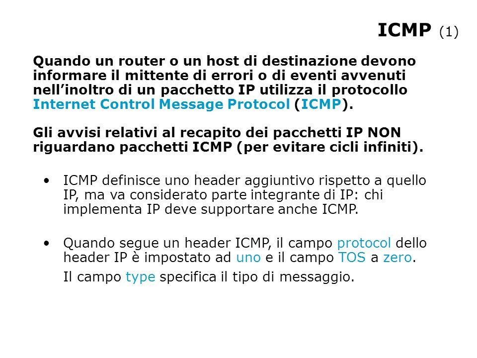 ICMP (1) Quando un router o un host di destinazione devono informare il mittente di errori o di eventi avvenuti nell'inoltro di un pacchetto IP utilizza il protocollo Internet Control Message Protocol (ICMP).