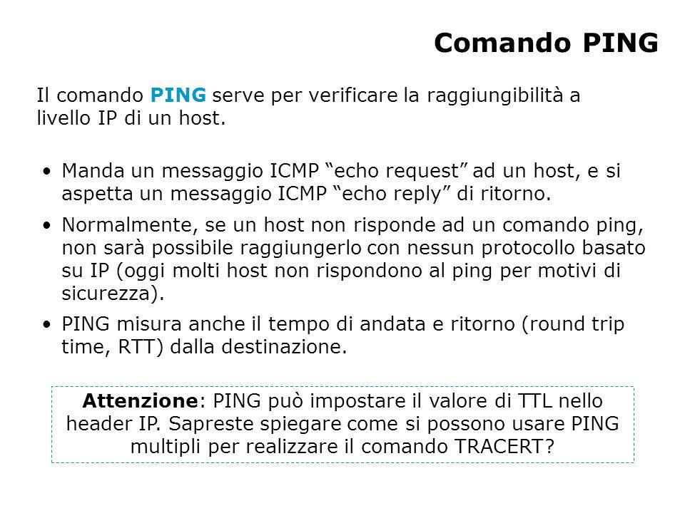 Comando PING Manda un messaggio ICMP echo request ad un host, e si aspetta un messaggio ICMP echo reply di ritorno.