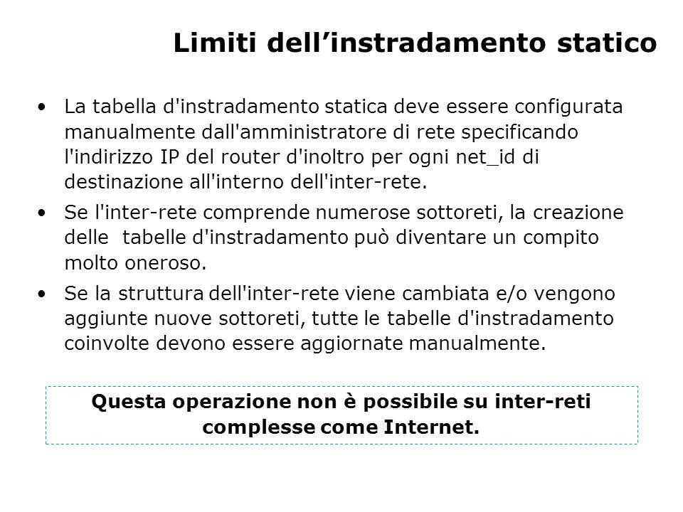 Limiti dell'instradamento statico La tabella d instradamento statica deve essere configurata manualmente dall amministratore di rete specificando l indirizzo IP del router d inoltro per ogni net_id di destinazione all interno dell inter-rete.