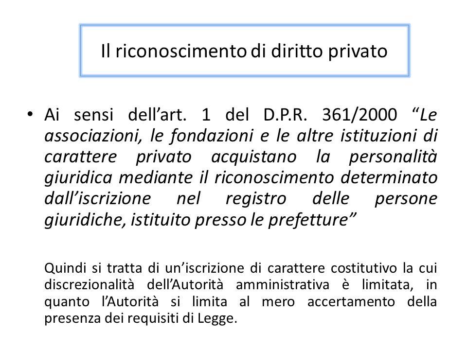 Esistono due registri previsti dal DPR 361/200 Presso le prefetture (ora Ufficio territoriale del Governo) nel caso di associazioni che svolgono attività in più regioni; Presso le regioni a statuto ordinario nell'ambito delle materie previste dall'art.