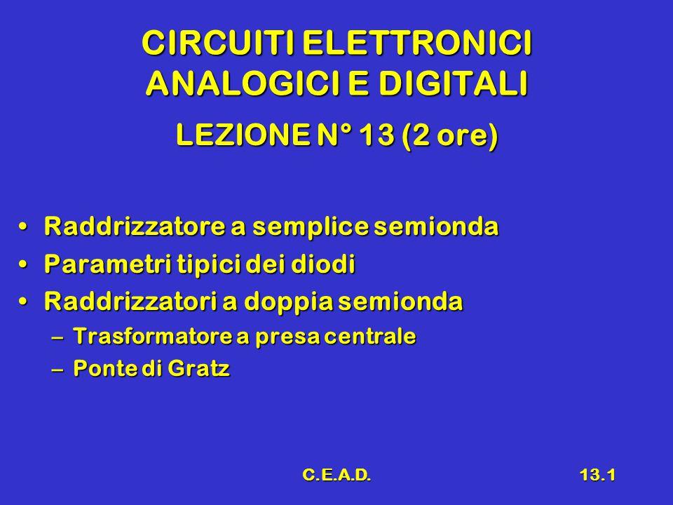C.E.A.D.13.1 CIRCUITI ELETTRONICI ANALOGICI E DIGITALI LEZIONE N° 13 (2 ore) Raddrizzatore a semplice semiondaRaddrizzatore a semplice semionda Parametri tipici dei diodiParametri tipici dei diodi Raddrizzatori a doppia semiondaRaddrizzatori a doppia semionda –Trasformatore a presa centrale –Ponte di Gratz
