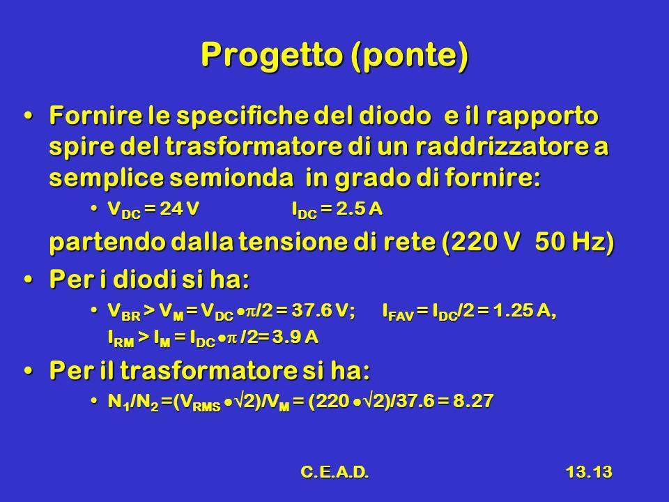 C.E.A.D.13.13 Progetto (ponte) Fornire le specifiche del diodo e il rapporto spire del trasformatore di un raddrizzatore a semplice semionda in grado di fornire:Fornire le specifiche del diodo e il rapporto spire del trasformatore di un raddrizzatore a semplice semionda in grado di fornire: V DC = 24 VI DC = 2.5 AV DC = 24 VI DC = 2.5 A partendo dalla tensione di rete (220 V 50 Hz) Per i diodi si ha:Per i diodi si ha: V BR > V M = V DC  /2 = 37.6 V; I FAV = I DC /2 = 1.25 A,V BR > V M = V DC  /2 = 37.6 V; I FAV = I DC /2 = 1.25 A, I RM > I M = I DC  /2= 3.9 A Per il trasformatore si ha:Per il trasformatore si ha: N 1 /N 2 =(V RMS  2)/V M = (220  2)/37.6 = 8.27N 1 /N 2 =(V RMS  2)/V M = (220  2)/37.6 = 8.27