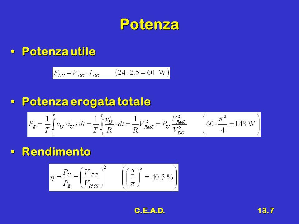 C.E.A.D.13.8 Osservazioni Potenza del trasformatore P TR > P E (150 VA)Potenza del trasformatore P TR > P E (150 VA) Grave inconvenienteGrave inconveniente –Nel trasformatore passa una corrente a valor medio pari a I DC –Tale corrente tende a saturare il ferro del trasformatore Questo tipo di alimentatore può essere utilizzato solo per piccole potenzeQuesto tipo di alimentatore può essere utilizzato solo per piccole potenze (nel caso trattato siamo già oltre tale limite)(nel caso trattato siamo già oltre tale limite)