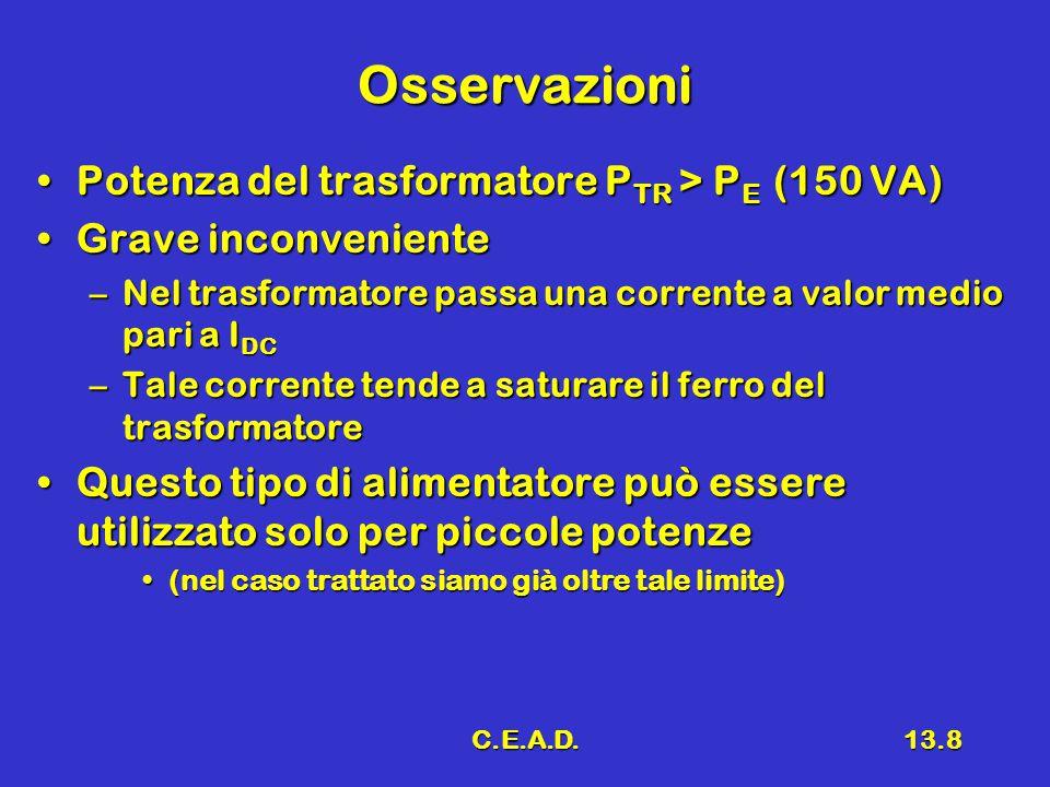 C.E.A.D.13.8 Osservazioni Potenza del trasformatore P TR > P E (150 VA)Potenza del trasformatore P TR > P E (150 VA) Grave inconvenienteGrave inconven