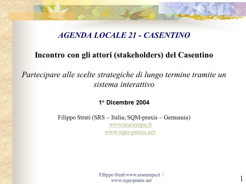 Filippo Strati www.srseuropa.it / www.sqm-praxis.net 22 Il Forum degli attori (stakeholders) Gruppo interno Comunità Montana Gruppo esterno Comunità Montana