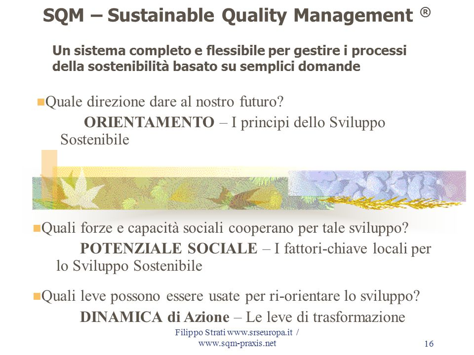 Filippo Strati www.srseuropa.it / www.sqm-praxis.net16 SQM – Sustainable Quality Management ® Quale direzione dare al nostro futuro? ORIENTAMENTO – I