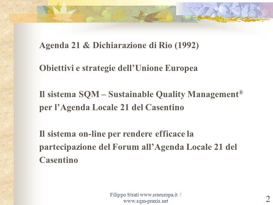 Filippo Strati www.srseuropa.it / www.sqm-praxis.net 3 Agenda 21 e Dichiarazione di Rio (1992) L'Agenda 21, approvata assieme alla Dichiarazione di Rio dalla Conferenza Mondiale del 1992, indica la strada per lo sviluppo sostenibile, L Agenda 21 si chiama così perché precisa gli impegni da attuare nel 21° secolo.