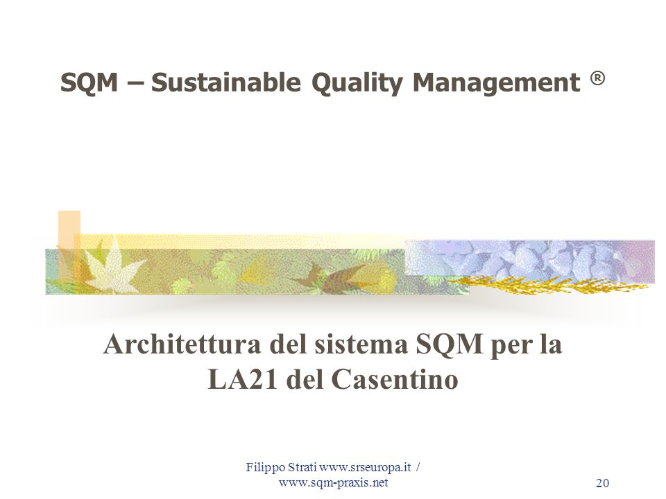 Filippo Strati www.srseuropa.it / www.sqm-praxis.net20 SQM – Sustainable Quality Management ® Architettura del sistema SQM per la LA21 del Casentino