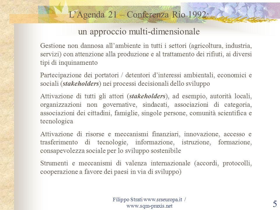 Filippo Strati www.srseuropa.it / www.sqm-praxis.net16 SQM – Sustainable Quality Management ® Quale direzione dare al nostro futuro.