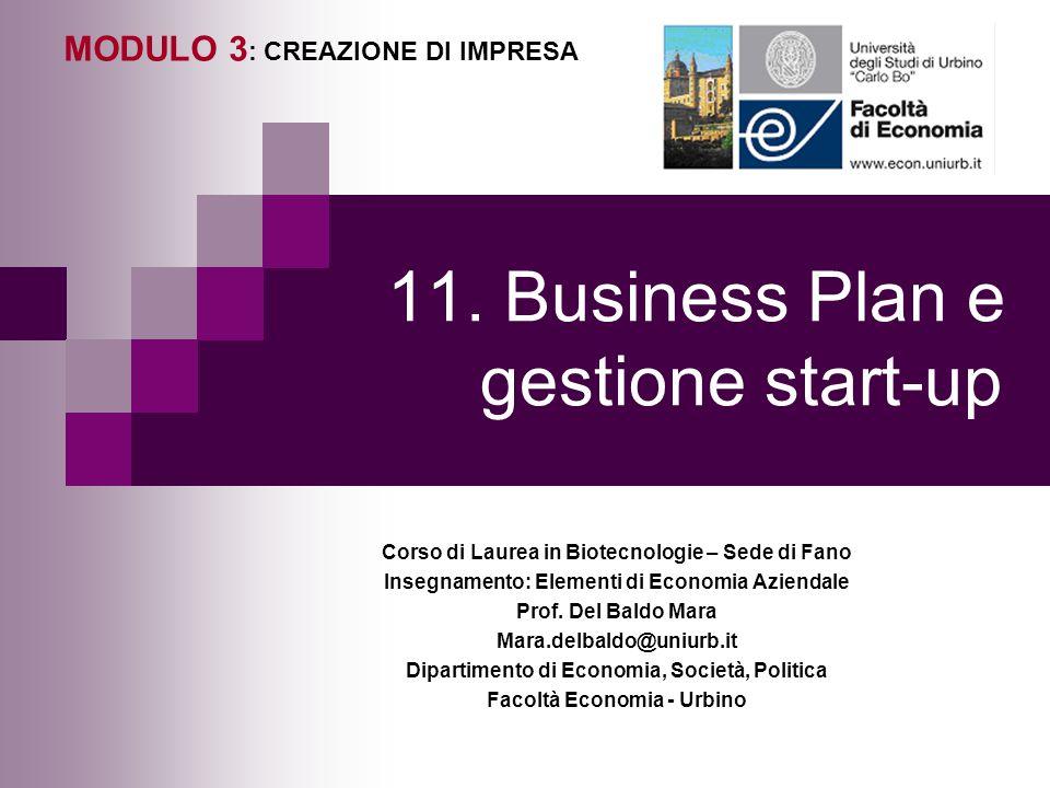 11. Business Plan e gestione start-up MODULO 3 : CREAZIONE DI IMPRESA Corso di Laurea in Biotecnologie – Sede di Fano Insegnamento: Elementi di Econom