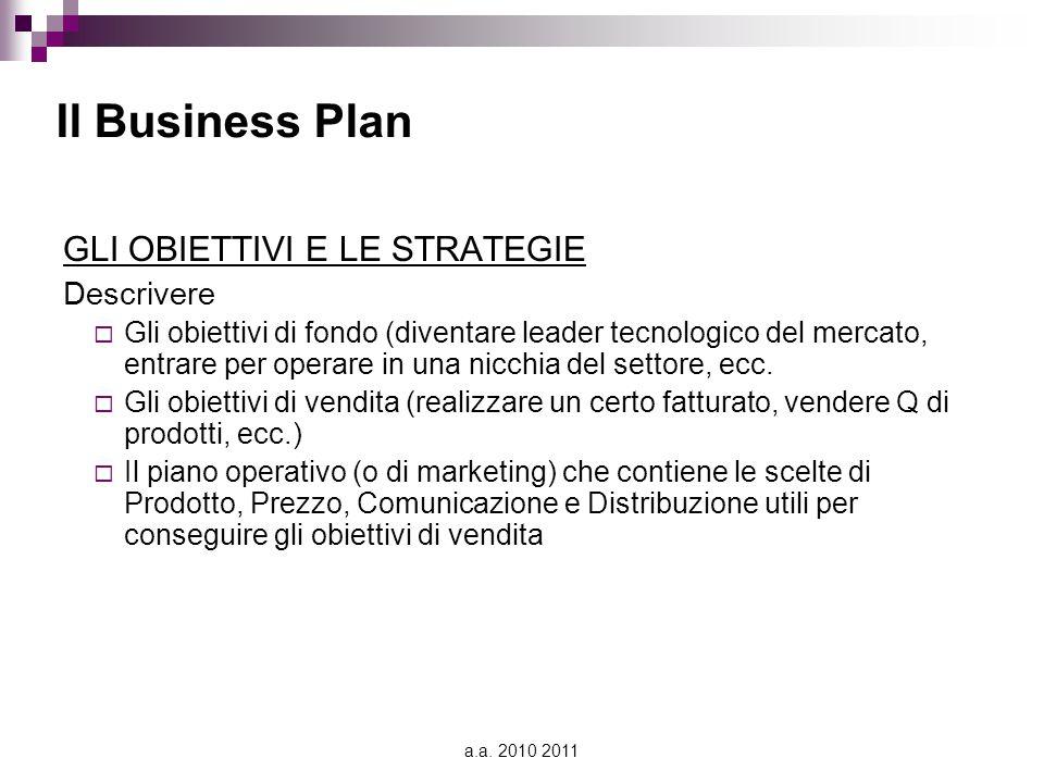 a.a. 2010 2011 Il Business Plan GLI OBIETTIVI E LE STRATEGIE Descrivere  Gli obiettivi di fondo (diventare leader tecnologico del mercato, entrare pe