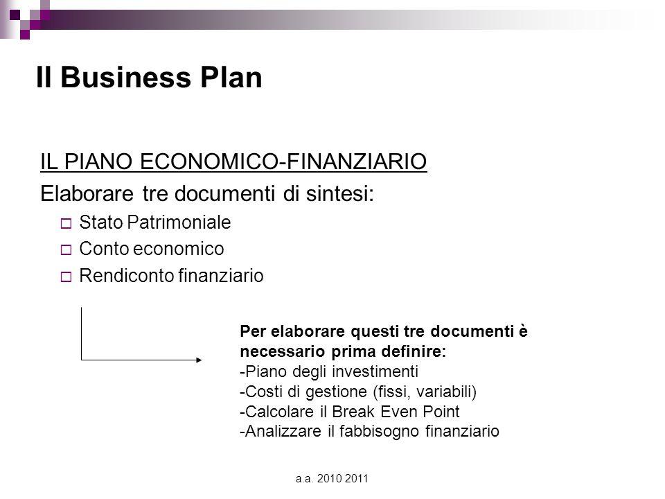 a.a. 2010 2011 Il Business Plan IL PIANO ECONOMICO-FINANZIARIO Elaborare tre documenti di sintesi:  Stato Patrimoniale  Conto economico  Rendiconto