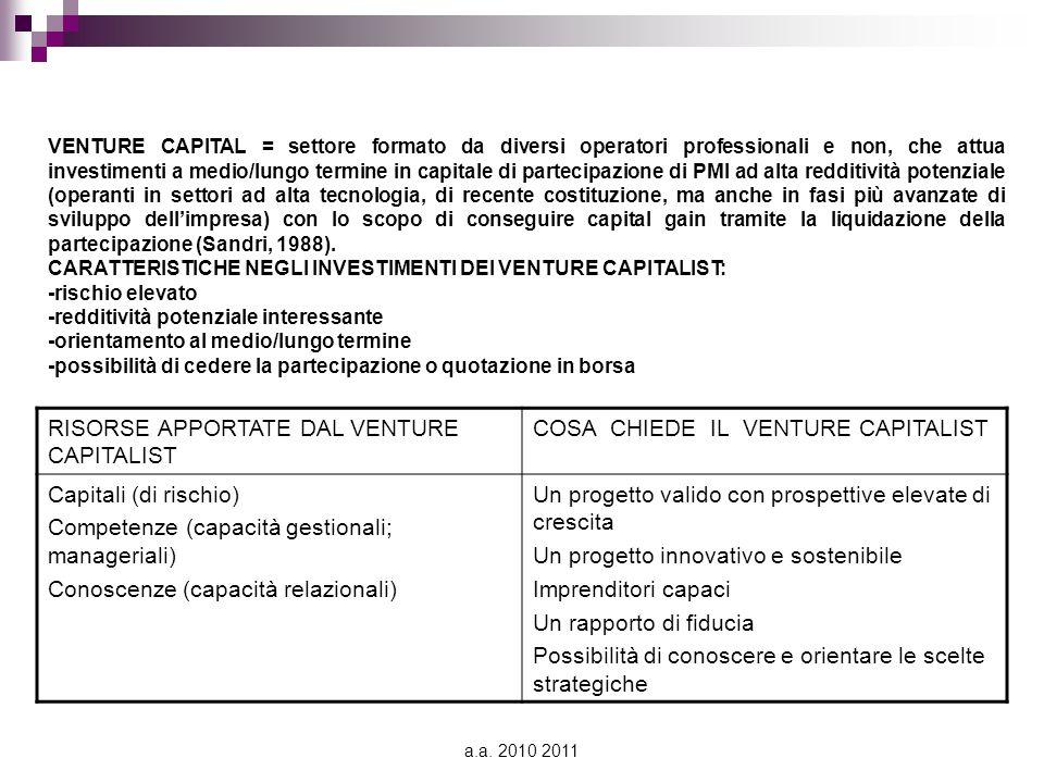 a.a. 2010 2011 VENTURE CAPITAL = settore formato da diversi operatori professionali e non, che attua investimenti a medio/lungo termine in capitale di