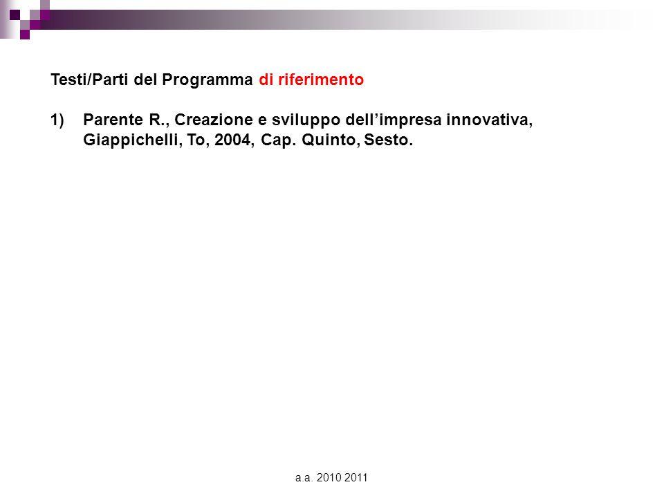 a.a. 2010 2011 Testi/Parti del Programma di riferimento 1)Parente R., Creazione e sviluppo dell'impresa innovativa, Giappichelli, To, 2004, Cap. Quint
