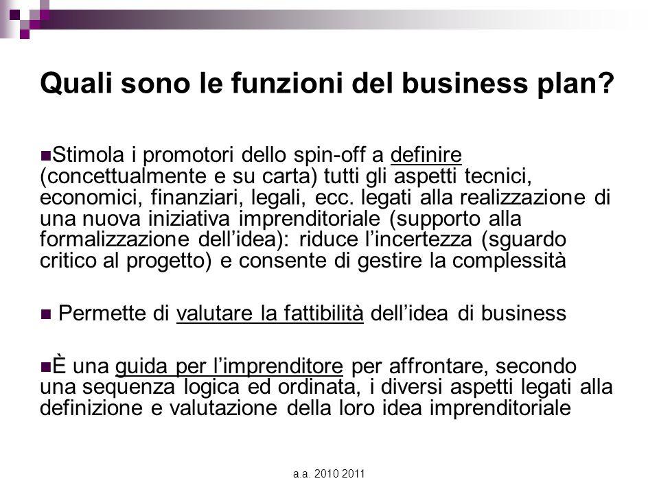 a.a. 2010 2011 Quali sono le funzioni del business plan? Stimola i promotori dello spin-off a definire (concettualmente e su carta) tutti gli aspetti