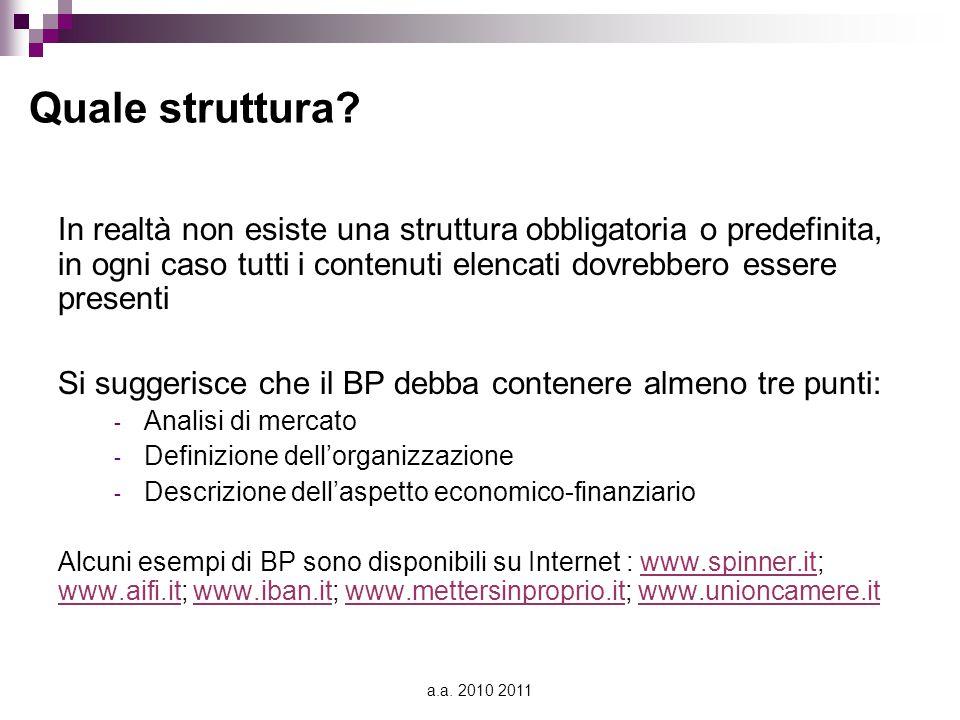 a.a. 2010 2011 Quale struttura? In realtà non esiste una struttura obbligatoria o predefinita, in ogni caso tutti i contenuti elencati dovrebbero esse