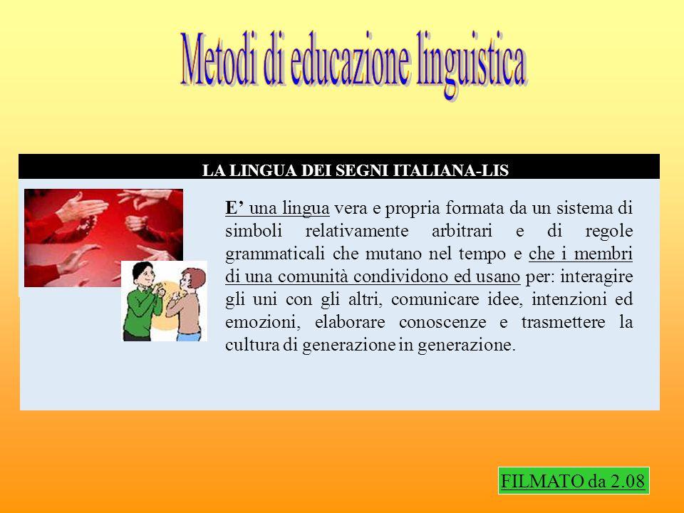 METODO BIMODALE O ITALIANO SEGNATO ESATTO EDUCAZIONE BILINGUE Questa metodologia si avvale, nell insegnamento dell italiano, di un sistema di segni codificati che serve da supporto visivo all apprendimento della lingua parlata e scritta.