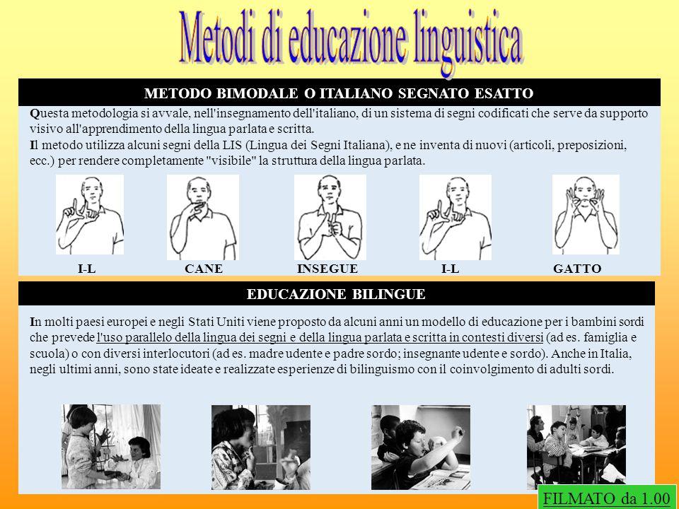 METODO BIMODALE O ITALIANO SEGNATO ESATTO EDUCAZIONE BILINGUE Questa metodologia si avvale, nell'insegnamento dell'italiano, di un sistema di segni co