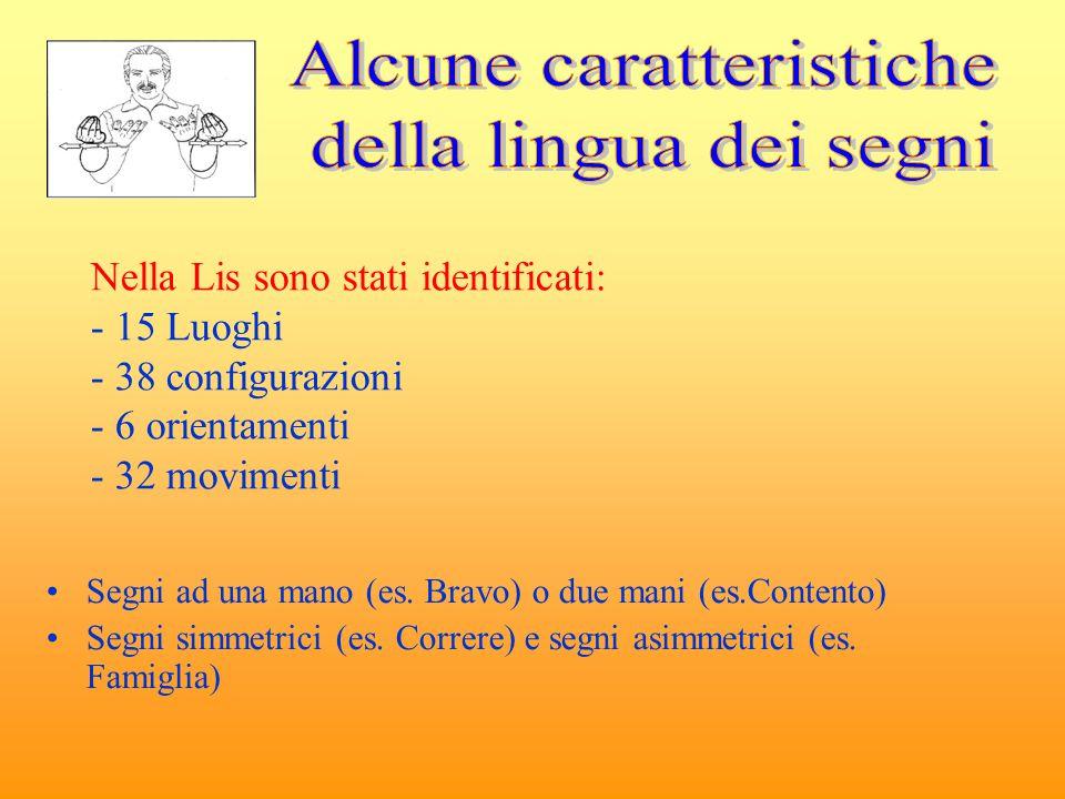 Nella Lis sono stati identificati: - 15 Luoghi - 38 configurazioni - 6 orientamenti - 32 movimenti Segni ad una mano (es. Bravo) o due mani (es.Conten