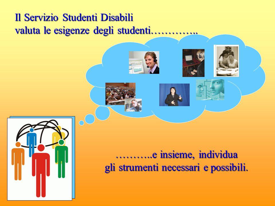Il Servizio Studenti Disabili valuta le esigenze degli studenti………….. ………..e insieme, individua gli strumenti necessari e possibili.