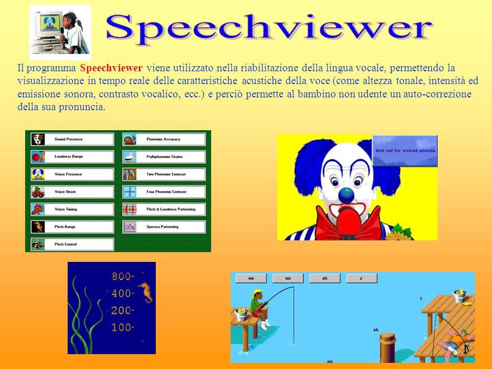 Il programma Speechviewer viene utilizzato nella riabilitazione della lingua vocale, permettendo la visualizzazione in tempo reale delle caratteristic