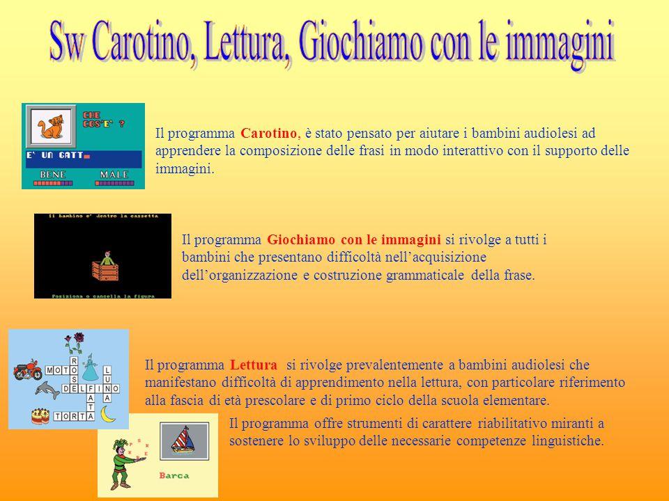 Il programma offre strumenti di carattere riabilitativo miranti a sostenere lo sviluppo delle necessarie competenze linguistiche. Il programma Carotin
