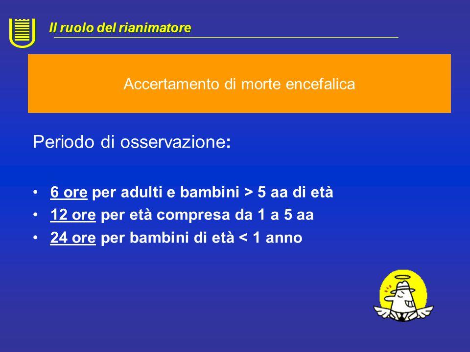 Accertamento di morte encefalica Periodo di osservazione: Valutazione clinica collegiale 3 registrazioni EEG di 30' Valutazione delle funzioni tronco-encefaliche Test dell'apnea Il ruolo del rianimatore