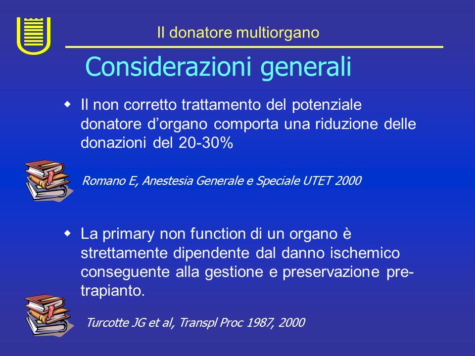 Il donatore multiorgano  Anche nei centri meglio attrezzati per la gestione del potenziale donatore, l'incidenza di arresto cardiaco varia dal 5 al 20%.