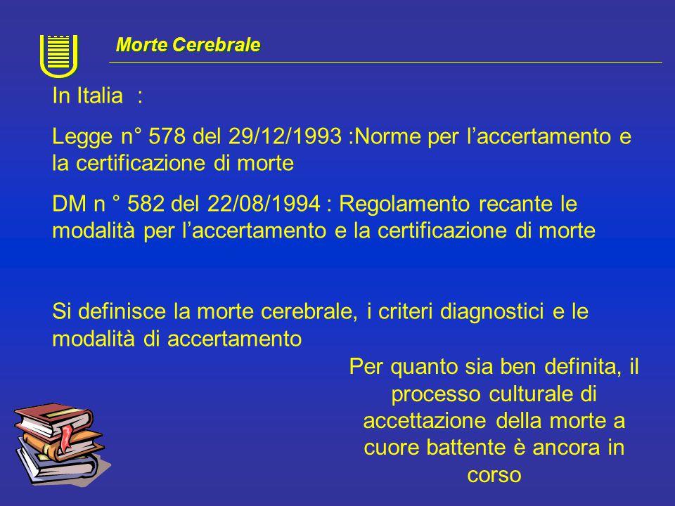 In Italia DM n° 582 del 22\08\94 Art 1 : Accertamento di morte per Arresto Cardiaco.