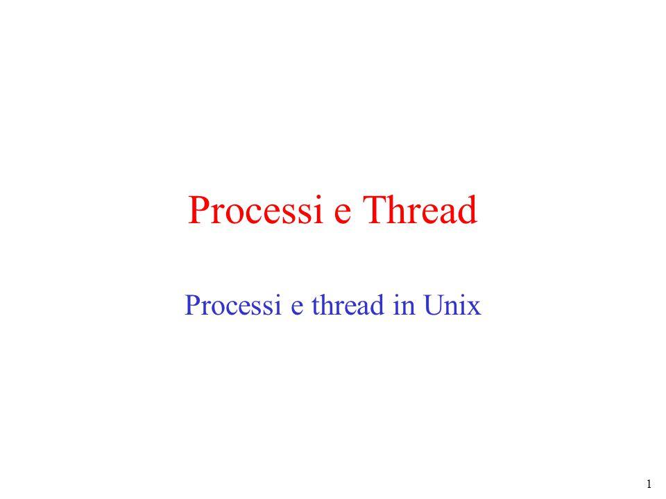 1 Processi e Thread Processi e thread in Unix
