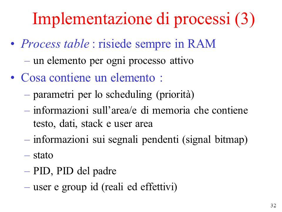 32 Implementazione di processi (3) Process table : risiede sempre in RAM –un elemento per ogni processo attivo Cosa contiene un elemento : –parametri per lo scheduling (priorità) –informazioni sull'area/e di memoria che contiene testo, dati, stack e user area –informazioni sui segnali pendenti (signal bitmap) –stato –PID, PID del padre –user e group id (reali ed effettivi)