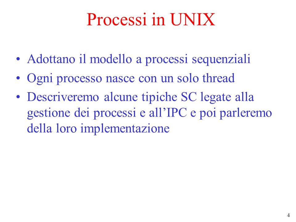 4 Processi in UNIX Adottano il modello a processi sequenziali Ogni processo nasce con un solo thread Descriveremo alcune tipiche SC legate alla gestione dei processi e all'IPC e poi parleremo della loro implementazione