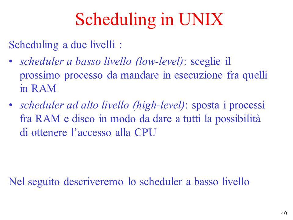 40 Scheduling in UNIX Scheduling a due livelli : scheduler a basso livello (low-level): sceglie il prossimo processo da mandare in esecuzione fra quelli in RAM scheduler ad alto livello (high-level): sposta i processi fra RAM e disco in modo da dare a tutti la possibilità di ottenere l'accesso alla CPU Nel seguito descriveremo lo scheduler a basso livello