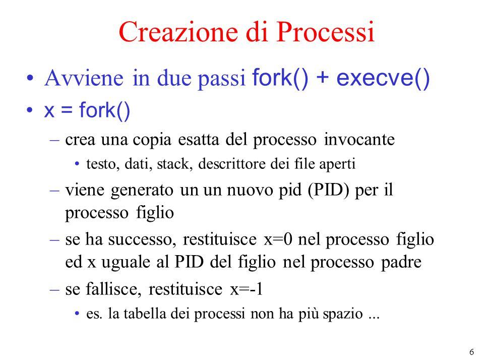 7 Text Data Stack Area vuota 0 2 32 - 1 heap Creazione di processi (2) Spazio di indirizzamento di padre e figlio dopo una fork terminata con successo SI padre Text Data Stack Area vuota 0 2 32 - 1 heap SI figlio copia