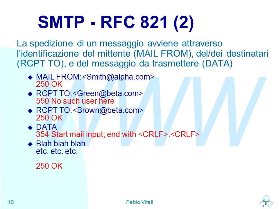 WWW Fabio Vitali10 SMTP - RFC 821 (2) La spedizione di un messaggio avviene attraverso l'identificazione del mittente (MAIL FROM), del/dei destinatari (RCPT TO), e del messaggio da trasmettere (DATA)  MAIL FROM: 250 OK  RCPT TO: 550 No such user here  RCPT TO: 250 OK  DATA 354 Start mail input; end with.