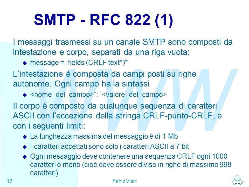 WWW Fabio Vitali13 SMTP - RFC 822 (1) I messaggi trasmessi su un canale SMTP sono composti da intestazione e corpo, separati da una riga vuota:  message = fields (CRLF text*)* L'intestazione è composta da campi posti su righe autonome.