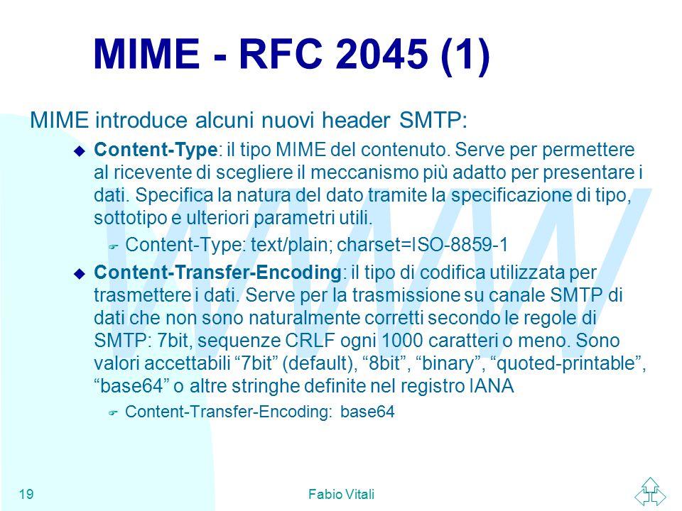 WWW Fabio Vitali19 MIME - RFC 2045 (1) MIME introduce alcuni nuovi header SMTP: u Content-Type: il tipo MIME del contenuto.