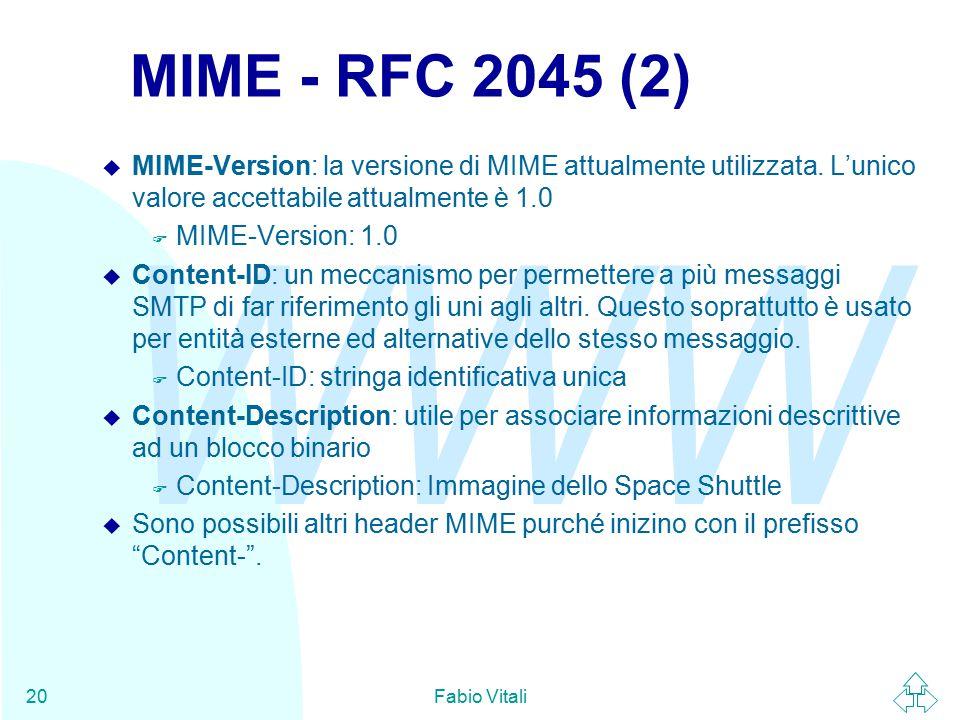 WWW Fabio Vitali20 MIME - RFC 2045 (2) u MIME-Version: la versione di MIME attualmente utilizzata.