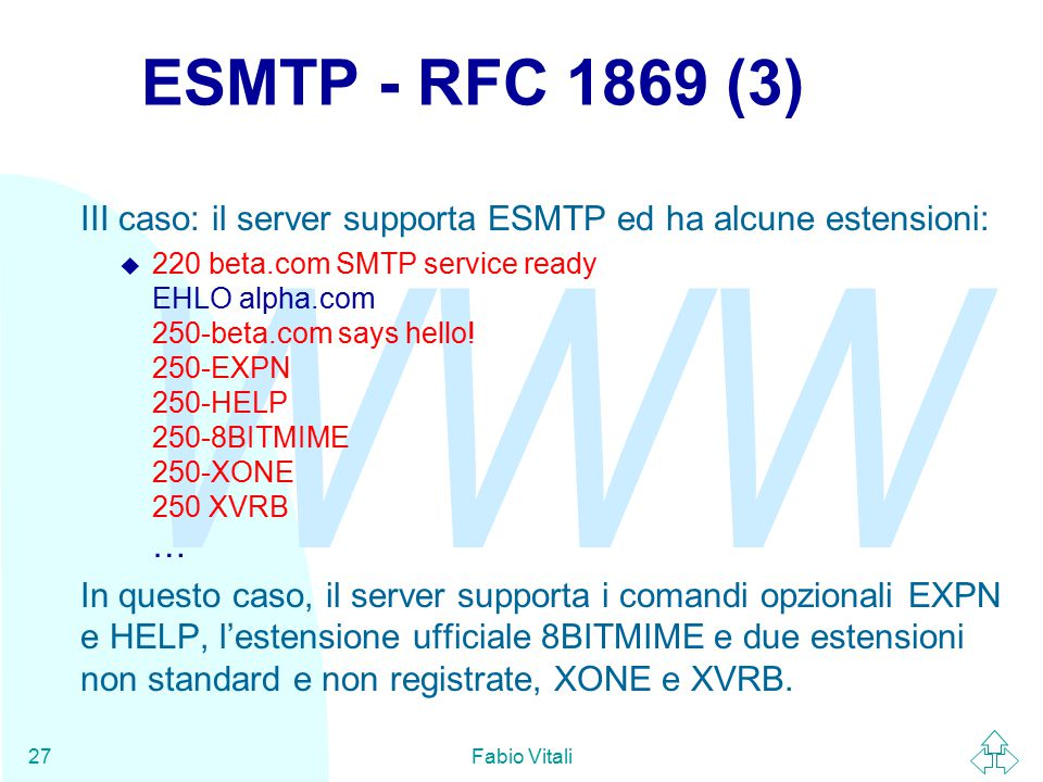 WWW Fabio Vitali27 ESMTP - RFC 1869 (3) III caso: il server supporta ESMTP ed ha alcune estensioni:  220 beta.com SMTP service ready EHLO alpha.com 250-beta.com says hello.