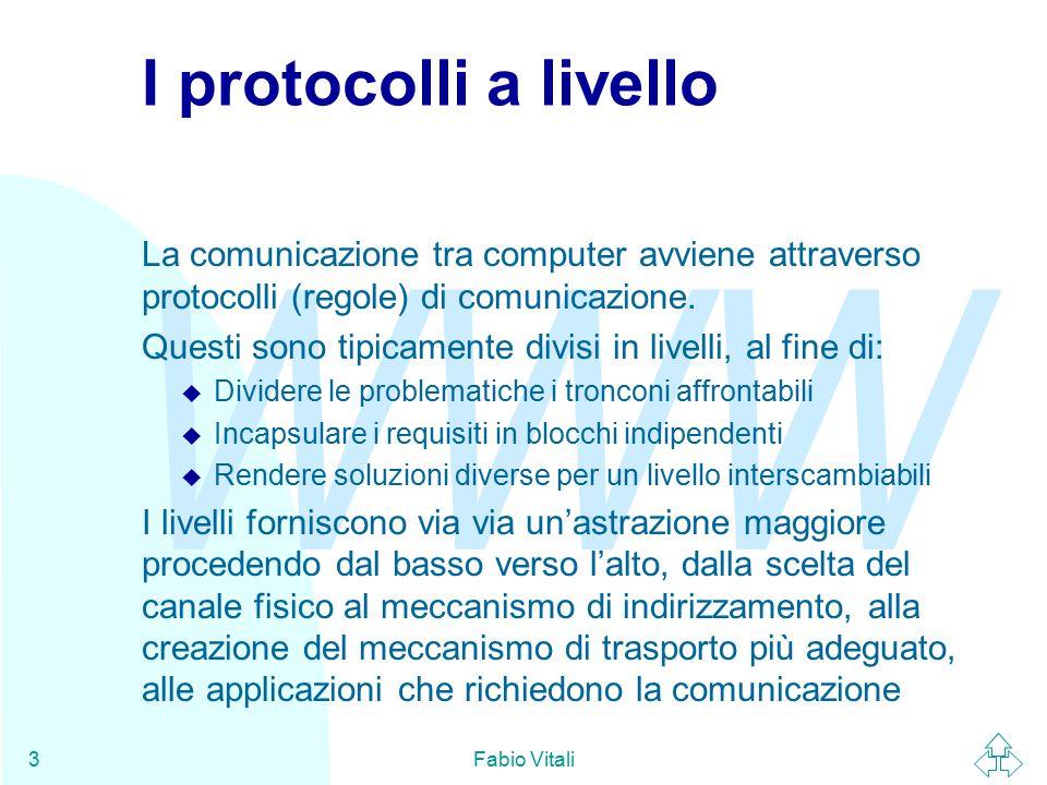 WWW Fabio Vitali3 I protocolli a livello La comunicazione tra computer avviene attraverso protocolli (regole) di comunicazione.