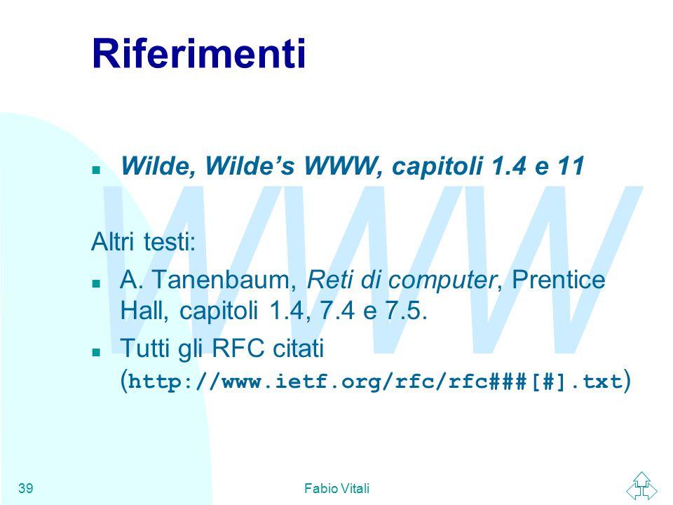 WWW Fabio Vitali39 Riferimenti n Wilde, Wilde's WWW, capitoli 1.4 e 11 Altri testi: n A.