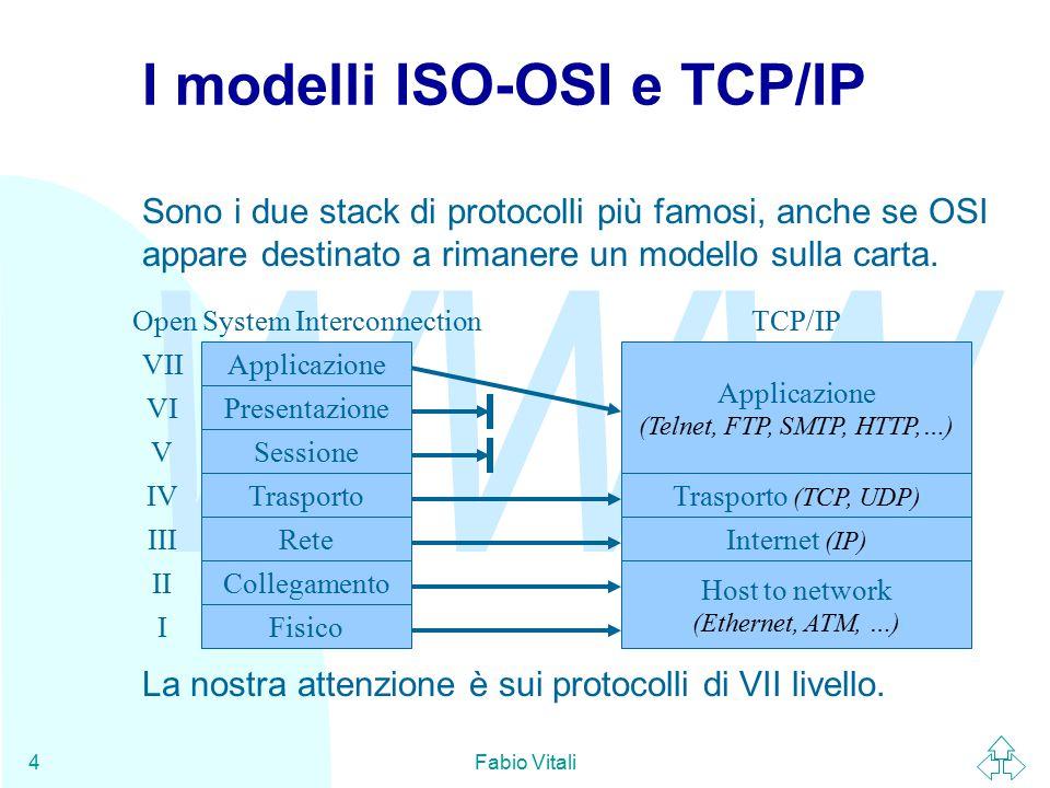 WWW Fabio Vitali4 I modelli ISO-OSI e TCP/IP Sono i due stack di protocolli più famosi, anche se OSI appare destinato a rimanere un modello sulla carta.