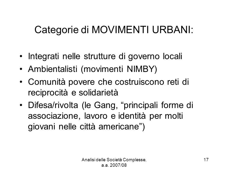 Analisi delle Società Complesse, a.a. 2007/08 17 Categorie di MOVIMENTI URBANI: Integrati nelle strutture di governo locali Ambientalisti (movimenti N