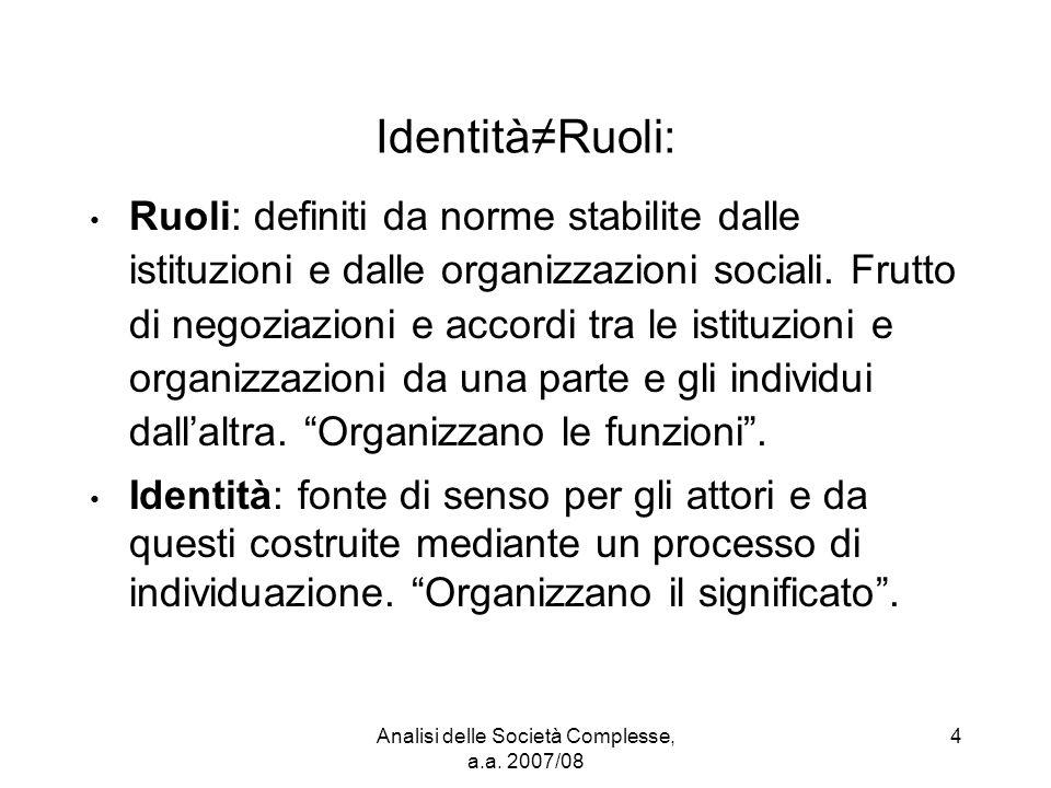 Analisi delle Società Complesse, a.a. 2007/08 4 Identità≠Ruoli: Ruoli: definiti da norme stabilite dalle istituzioni e dalle organizzazioni sociali. F
